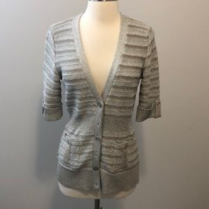 WHBM Knitted Cardigan Size S Cream/Tan Shimmer